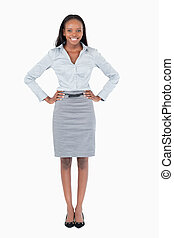 Portrait of a happy businesswoman against a white background