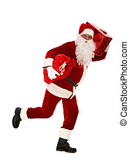 Hurry for Christmas - Photo of happy Santa Claus running...