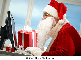 Spreading gifts - Portrait of Santa Claus in front of...