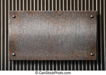 Grunge, oxidado, metal, placa, encima, cuadrícula,...