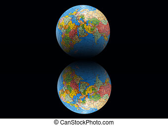 Earth on a black background with mirror