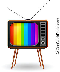 Retro TV with color frame Illustration on white background