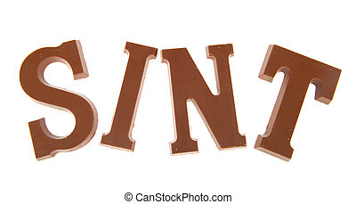 Sinterklaas chocolate letters isolated over white background