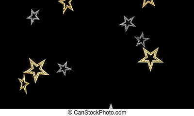 Stars background - Falling gold and silver glittering stars