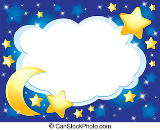night background with a moon and stars