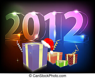 Neon gift 2012 year vector illustration
