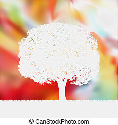 Summer background with tree Silhouette. EPS 8