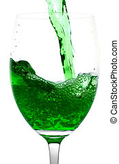 Green Alcoholic Cocktail in martini glass