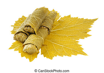 Dolma on grape leaf Isolated on white background
