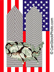 two towers - Two towers of one dollar bills with a broken...