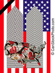 two towers - Two towers of one dollar bills with a...