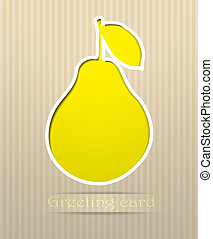 Pear postcard vector illustration