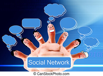 Happy group of finger faces as social network with speech