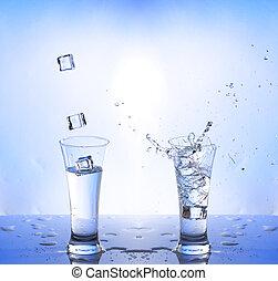 water splash in glasse, white-blue background
