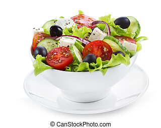 salad - greek salad with fresh vegetables and feta cheese on...