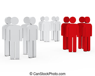team people group white red - 3d business team people group...