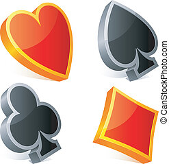 Card suits - Set of three-dimensional card suits symbols