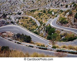 A twisty road - A very twisty road is leading uphill