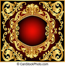 background frame red with gold(en) pattern