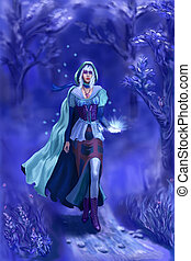 The nymph fo the blue forest raster illustration