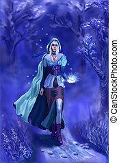 el, ninfa, azul, bosque