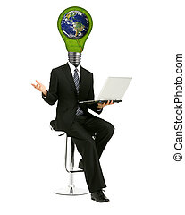 lamp-head male with laptop in his hands