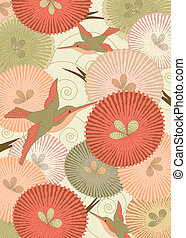 Pattern in Japanese style - Ornamental pattern with birds...