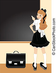 School theme - Vector illustration of cheerful girl School...
