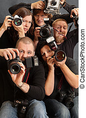 Crazy photographers - Photo of paparazzi fighting for space...