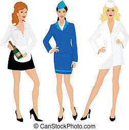 Stewardess, nurse and waitress - Group of beautiful girls in...