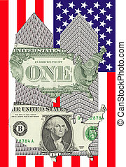 two towers - Two towers of one dollar bills with a map of...