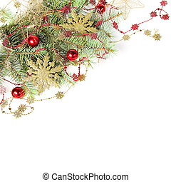 Christmas Border with Golden Snowflakes