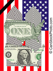 Two towers of one dollar bills with two maps of the USA and...