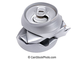 Crumpled beverage can isolated close up