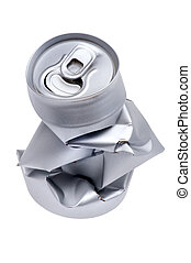 Crumpled beverage can isolated macro