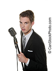 young singer with retro mic