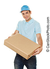 messenger of messenger delivers mail service package - a...