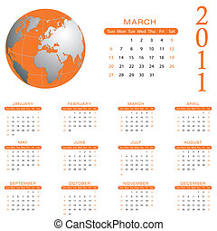 2011 Calendar -  March