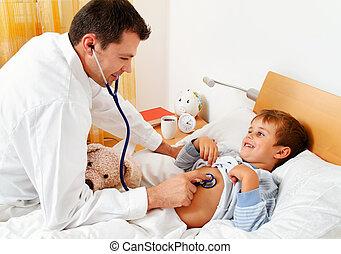 doutor, casa, chamada, examina, criança