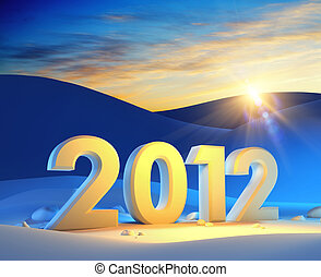 new year 2012, 3d render