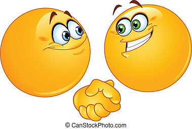 Handshake emoticons - Two emoticons shaking hands