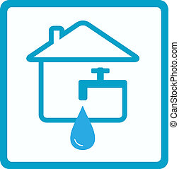 water in house with silhouette of f - drop of water in house...