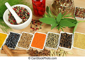 Spices and herbs. - Whole variety of colorful spices....