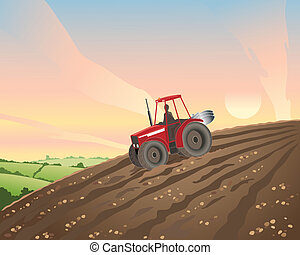 tractor - an illustration of a red tractor in a plowed...