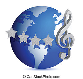 globe with music note illustration design over white