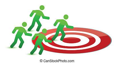 team running to target illustration