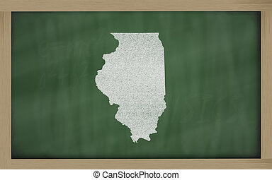 outline map of illinois on blackboard - drawing of illinois...