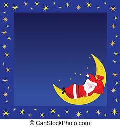 Christmas frame with sleeping Santa