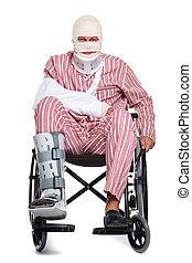 herido, hombre, sílla de ruedas