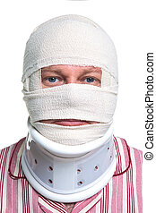 Injured man with a head bandage - Photo of an injured man...